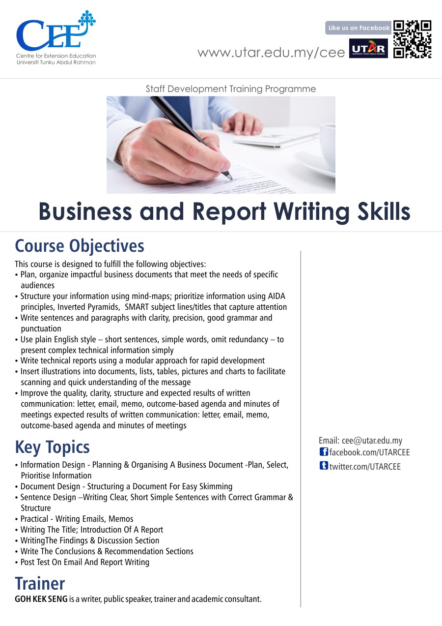 online report writing This onsite report writing training program will help participants learn to practice the habits of good writers schedule this workshop for your group.