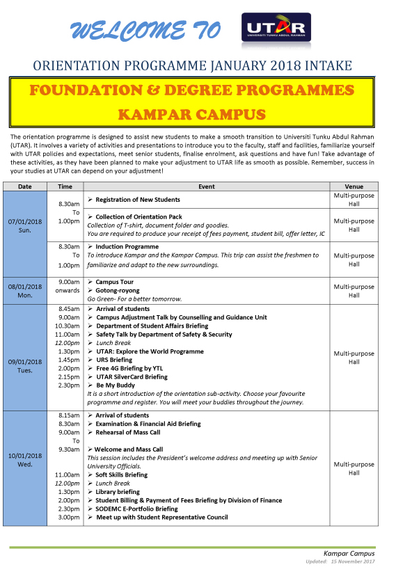 Department of student affairs kampar campus utar vehicle sticker january 2018 schedule spiritdancerdesigns Gallery