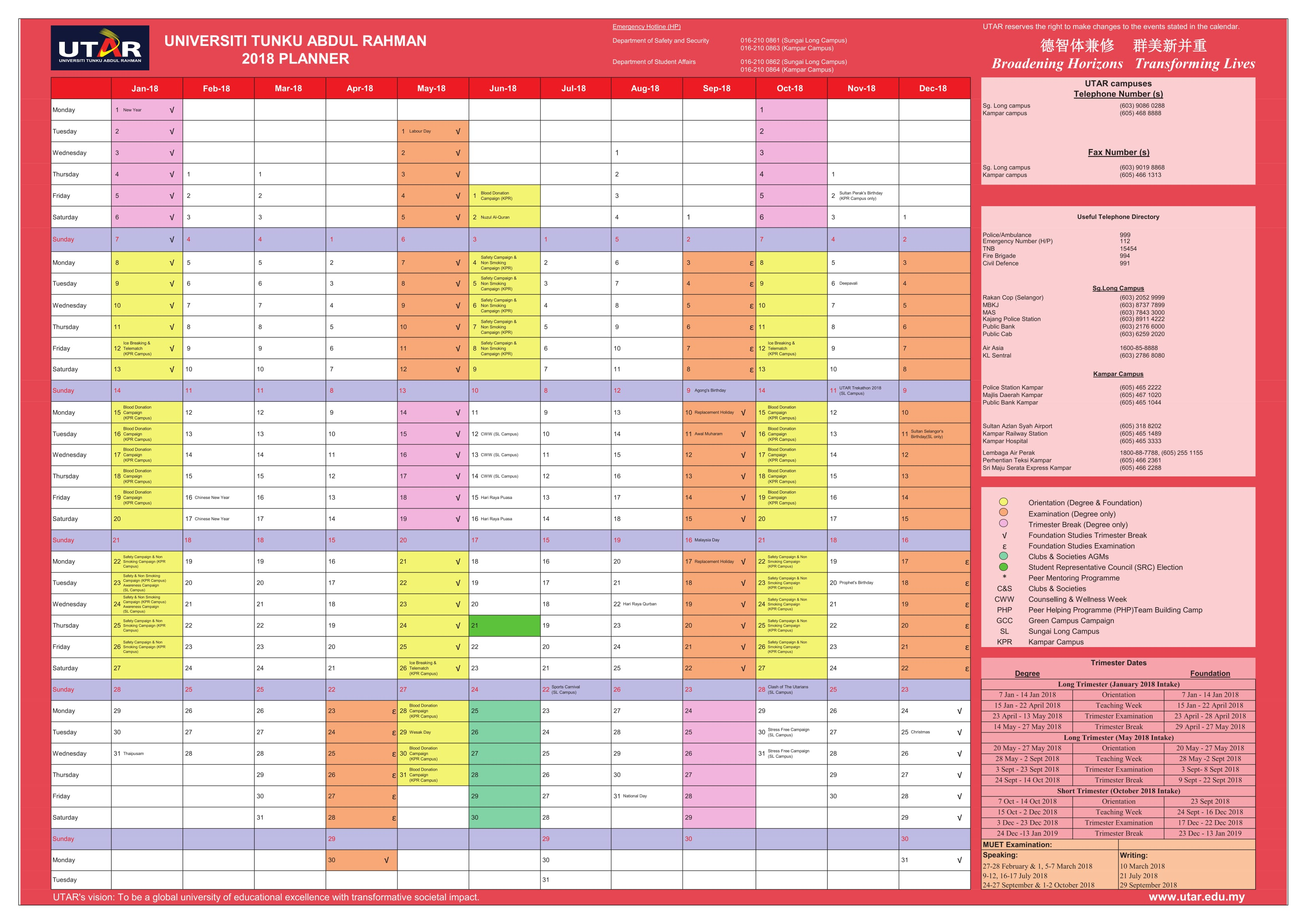 Utar Calendar Planner : Academic planners gecce tackletarts