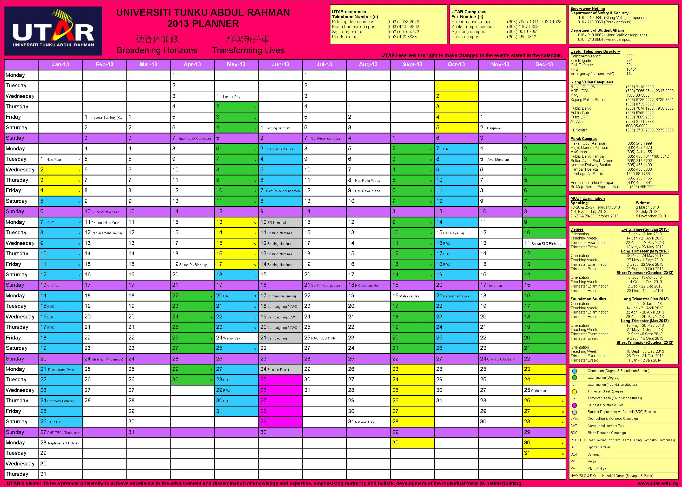 Utar Calendar Planner : Department of student affairs